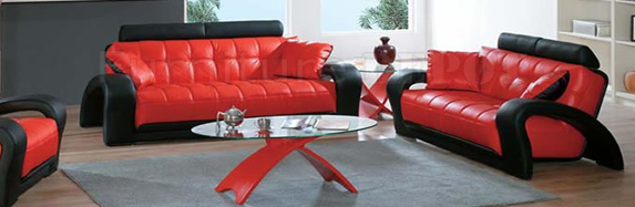 Living Space Ideas with Red Leather Living Room Furniture